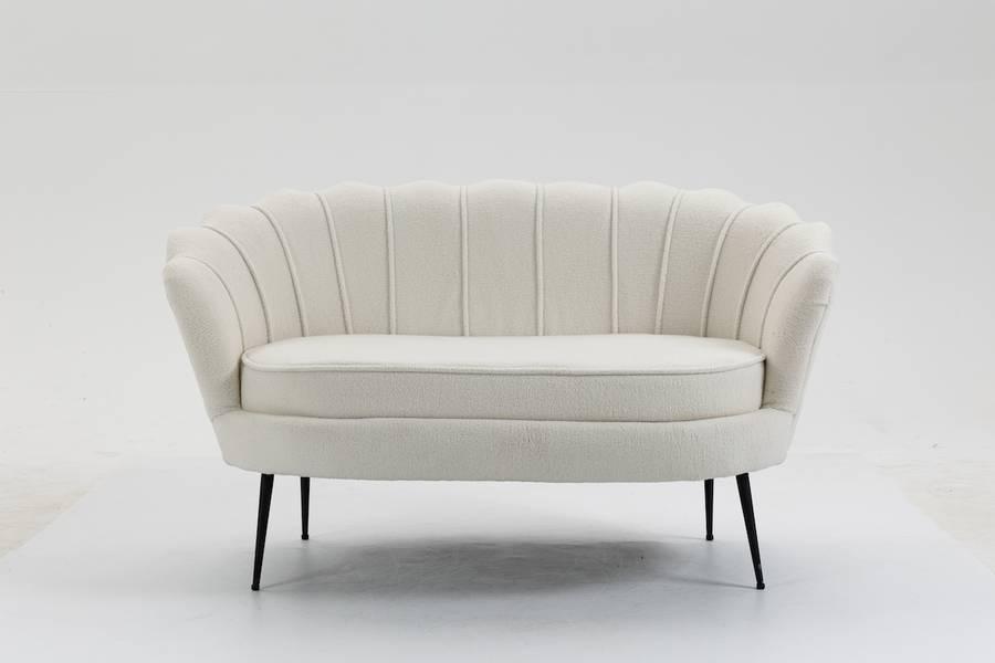 Lotus 2-seter sofa (naturhvit kunstig saueskinn)